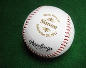 Personalized Engraved Baseball Rawlings Ring Bearer Groomsman Best Man Usher Wedding Party Gift Keepsake Logo