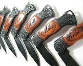 7 Engraved Black Decor Folding Pocket Knives Personalized Groomsman Best Man Ring Bearer Father of the Bride Gift Wedding Gift Keepsake