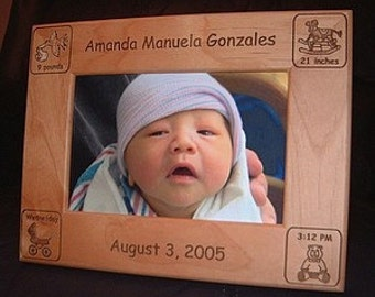 Personalized Engraved Baby Announcement Frame 4x6, Custom Gifts for New Mom & Dads, Gifts for Grandma and Grandpa, New Baby Keepsake