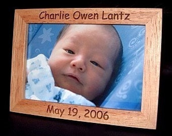 5x7 Personalized Engraved Wood Baby Frame Keepsake Gift Announcement Nursery