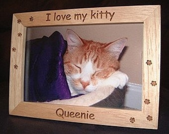 4x6 Personalized Cat Frame, Engraved Pet Frame, Cat Lovers Gift, Dog Lovers Gift, Pet Lovers, Animal Lovers, Pet Memorial Keepsake Gift