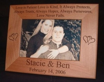 Personalized Engraved Love is Patient 4x6 Wood Frame Wedding Keepsake Gift