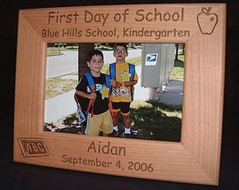 Personalized Engraved 1st Day of School 4x6 Wood Frame Keepsake Gift