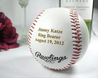 Personalized Engraved Basesball Rawlings Ring Bearer Groomsman Usher Wedding Party Gift Keepsake