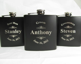 2 Groomsmen Flasks, Best Man Gift, Personalized Flask, Groomsman Flask, Engraved Flasks, Engraved Wedding Party Flask Keepsake LGO