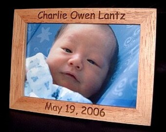 Personalized Engraved New Born Baby Frame 4x6 Natural Wood Finish
