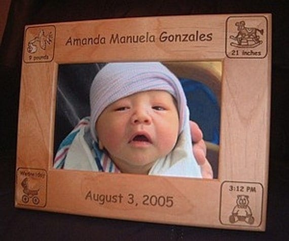 5x7 Personalized Engraved Baby Announcement Frame Keepsake Gift New Born Nursery Decor