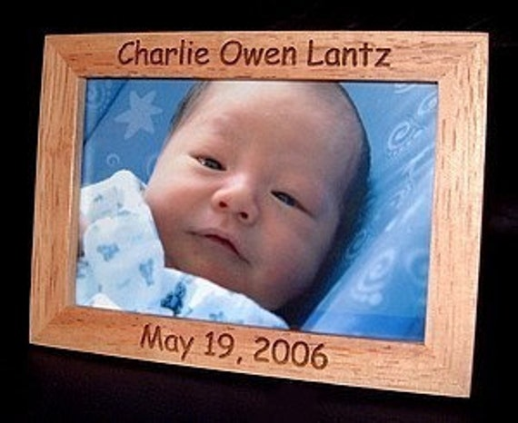 Personalized Engraved Wood Baby Frame 4x6 Keepsake Gift Announcement Nursery