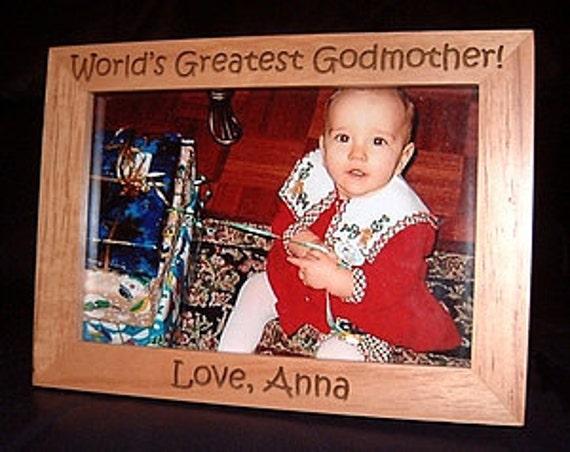 5x7 Personalized Engraved Frame World's Greatest Godmother Keepsake Baptism Gift