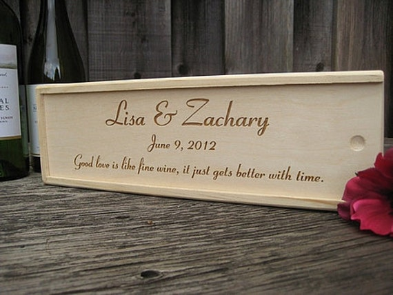 Engraved Rustic Wood Wine Box, Personalized Wine Box, Wedding Wine Box, Anniversary Wine Box, Custom Engraved Wooden Wine Box, Keepsake Gift
