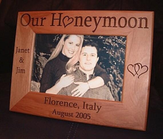 Personalized Engraved Our Honeymoon 4x6 Wood Frame Wedding Gift Keepsake Bride Groom