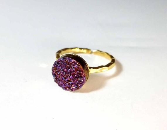 Plum-Rose Titanium Druzy 18K Vermeil Ring