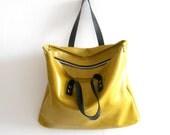 Leather handbag ,shoulder bag - yellow lime