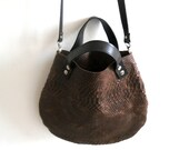 Leather  basket bag - Brown snake pattern