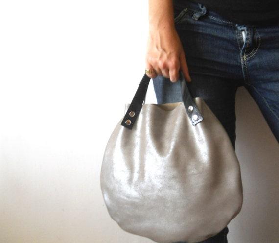 Little leather  basket bag -silver