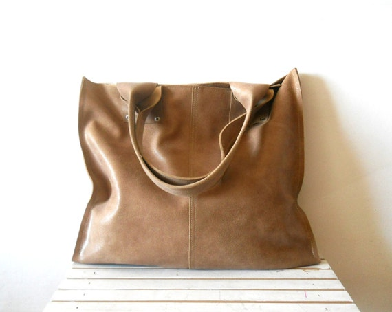 Oversize leather tote bag, for every day use -Light Mocha