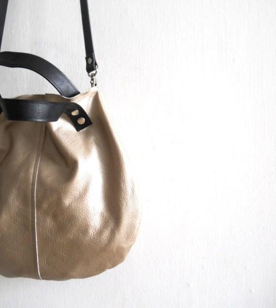 Little leather  basket bag -gold
