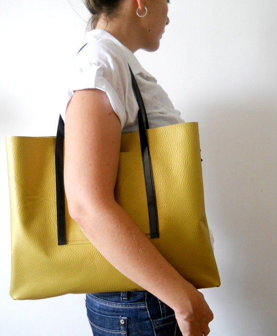 NOW ON SALE -Golden leather tote bag , for every day use
