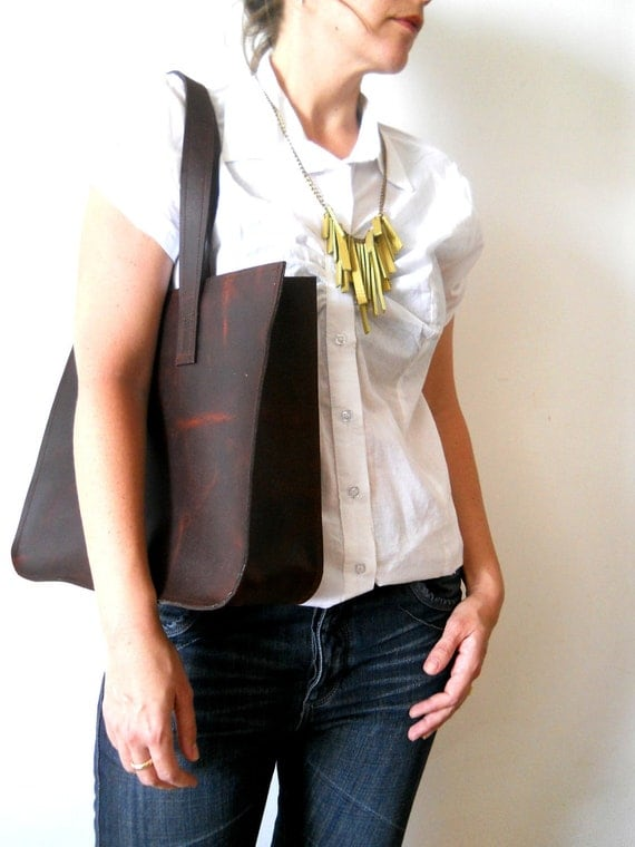Leather tote, for every day use- dark brown