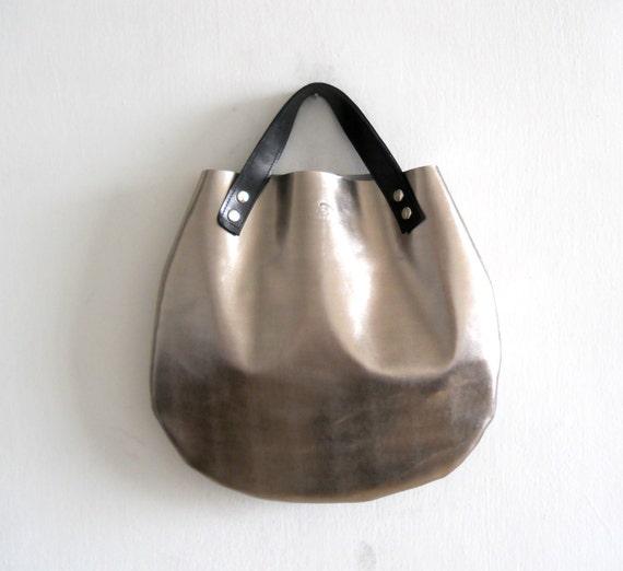 Little leather  basket bag - silver