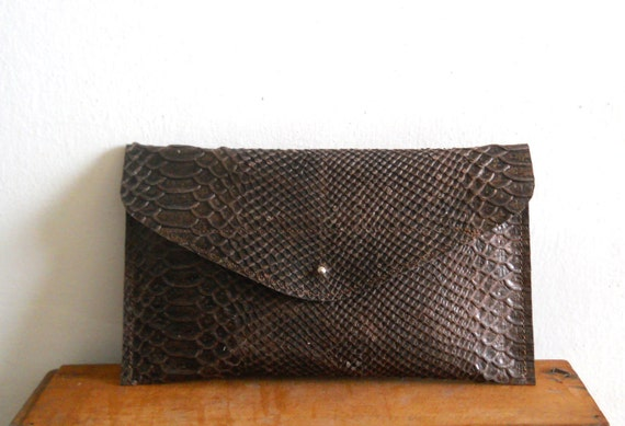 Leather envelope Clutch - Brown snake pattern