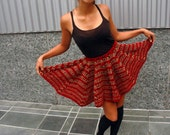 CLEARANCE Late 60's Early 70's Little Red Crochet Capelet Convertible Skirt XS-S