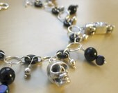 """Charm Bracelet Sterling Silver and Czech Glass Original - """"Death Becomes You"""""""