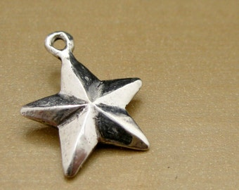 "Nautical Star Sterling Silver Charm- ""Super Star"""