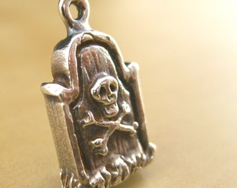 """Tombstone Sterling Silver Charm Original - """"X Marks the Plot"""""""