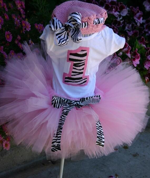 Barbie Zebra Theme 1st And 5th Birthday: Pink Zebra Princess Birthday Tutu Set Inlcudes By