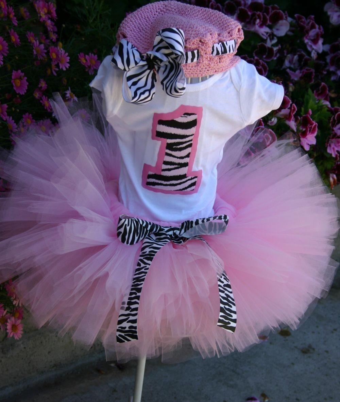 Pink Zebra Princess Birthday Tutu Set Inlcudes By