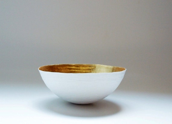 Paper Mache Bowl  in White and Gold - The Moon - Made to order