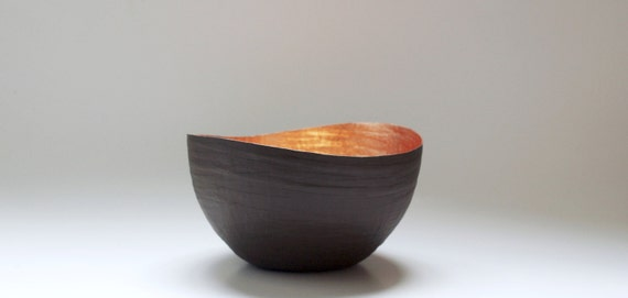 Paper Mache Vessel in Brown and Copper - The Wavy - Made to order