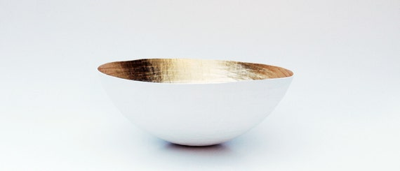 Paper Mache Bowl  White and Gold - The Moon - Large