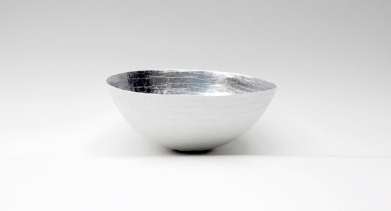 Paper Mache Bowl White and Silver - The Moon - Made to order