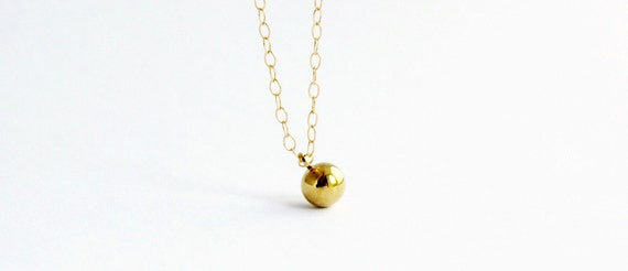 Tiny Gold Ball Necklace in Gold Filled and Brass - Everyday Gold Necklace