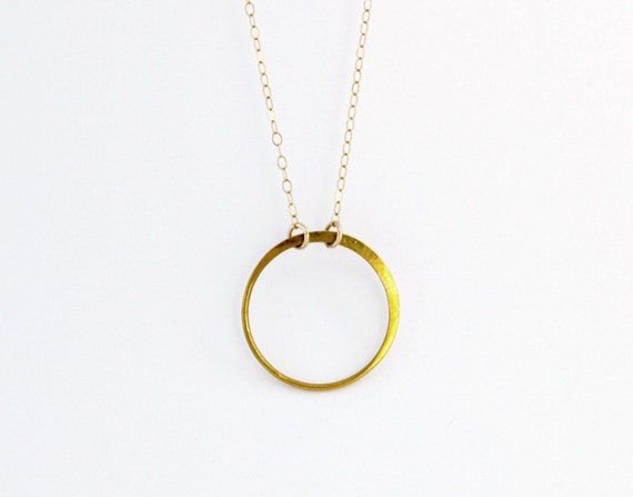 Gold Circle Necklace in Gold Filled and Vermeil - Simple Everyday Jewelry
