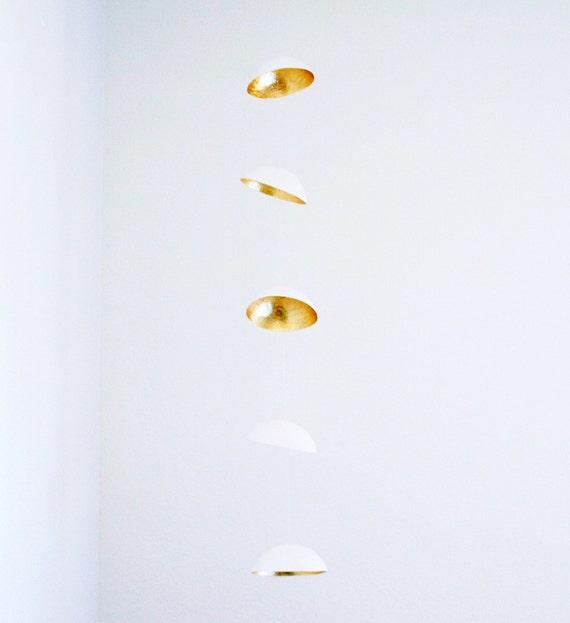 Paper Mache Mobile in White and Gold