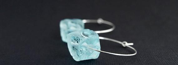 Aquamarine Quartz  Hoop earrings in Sterling Silver