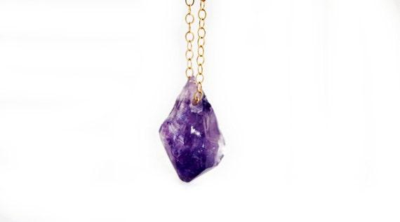 Raw Amethyst Necklace in Gold Filled  / February Birthstone / Rough Gemstone Crystal Jewelry