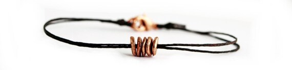 Copper Disks Bracelet on Brown Irish Linen - Simple, Bohemian, Everyday Jewelry