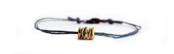 Brass Disks Bracelet on Grey Irish Linen - Simple, Bohemian, Everyday Jewelry