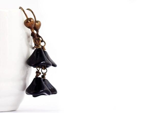Black Czech Flower Earrings