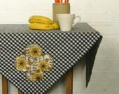 monochrome marigold gingham picnic tablecloth