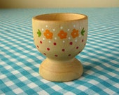heidi hand painted wooden egg cup yellow flowers & red dots