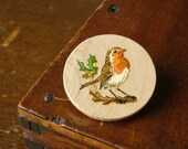SALE robin red breast wooden christmas brooch