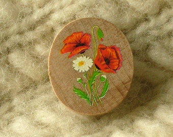 poppies and ox-eye daisy wildwood flower wooden brooch pin