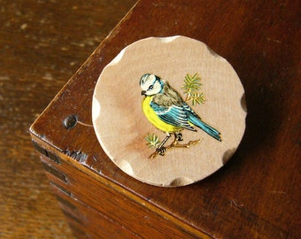 bonnie blue tit wooden hand shaped brooch