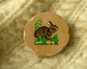 brown bunny wooden brooch easter - last one