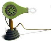 Vintage table lamp made from mint green blow dryer light
